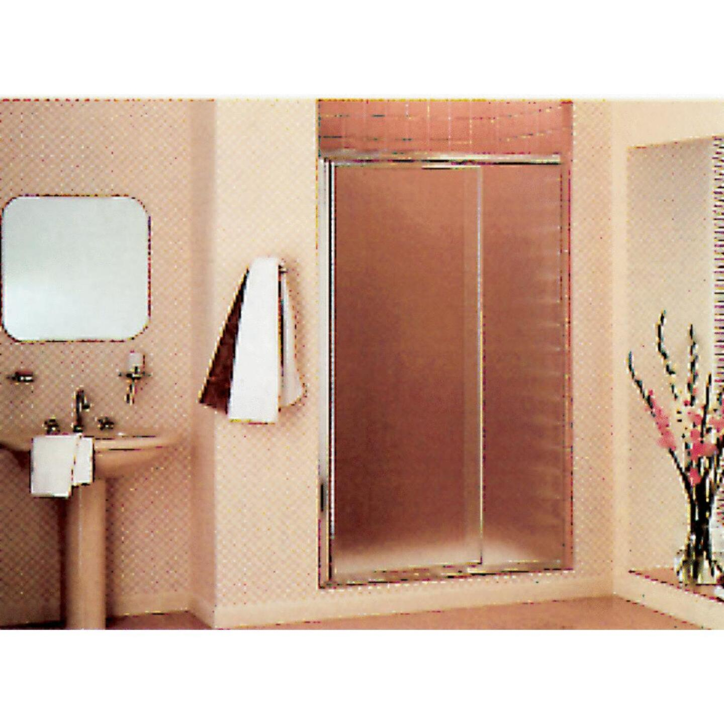 Sterling Vista Pivot II 36 In. W. X 65-1/2 In. H. Chrome Pebbled Glass Shower Door Image 1