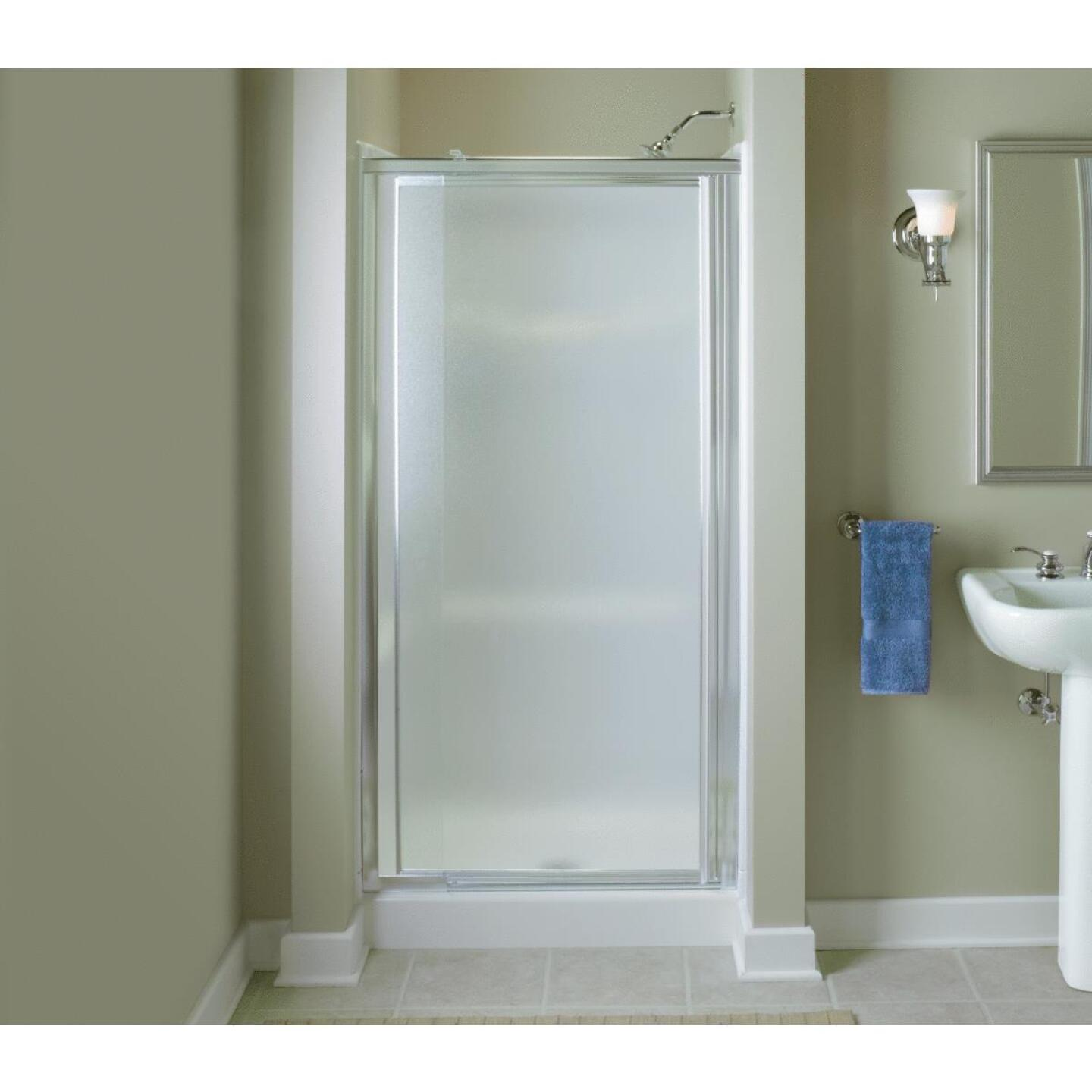 Sterling Vista Pivot II 36 In. W. X 65-1/2 In. H. Chrome Pebbled Glass Shower Door Image 2