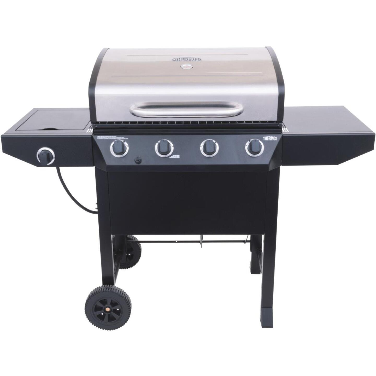 Thermos 4-Burner Stainless Steel 38,000-BTU LP Gas Grill with 10,000-BTU Side Burner Image 2